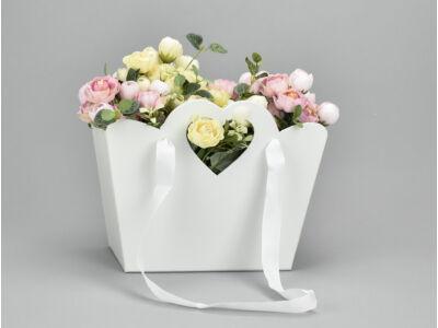 Táska doboz szíves füllel fehér 30/#