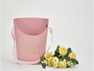 Papír virágtartó long kicsi rózsaszín 120/#