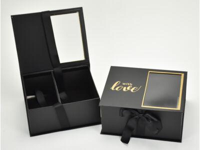 Virág-ajándék doboz fekete 2db/szett  24/#