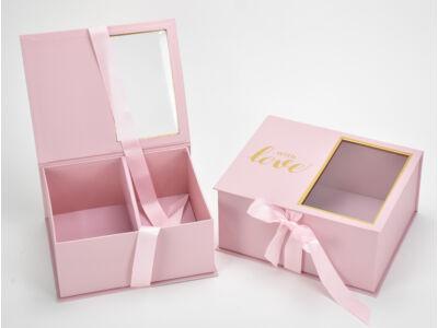 Virág-ajándék doboz rózsaszín 2db/szett  24/#