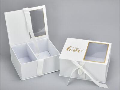 Virág-ajándék doboz fehér 2db/szett 24/#