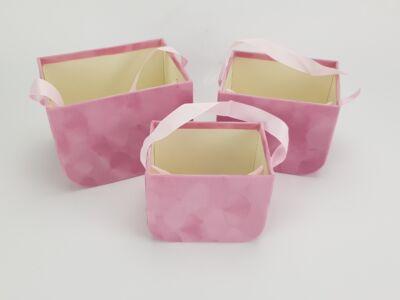Füles bársony ajándék táska rózsaszín 3db/szett #48