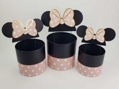 Pöttyös doboz beszúrós masnis fülekkel - rózsaszín 3db/szett