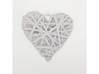 Vessző szív 15cm fehér