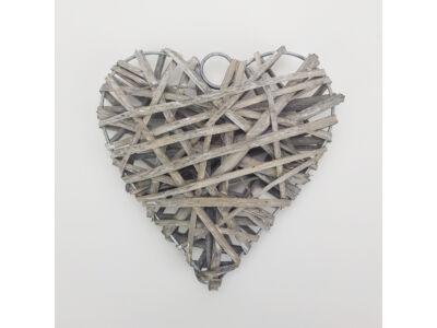 Vessző szív 15cm szürke