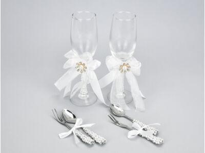 Esküvői pezsgős pohár szett + kanál villa