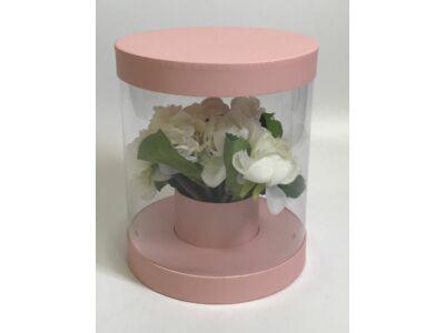 Átlátszó oldalú premium virágdoboz - rózsaszín 36/#