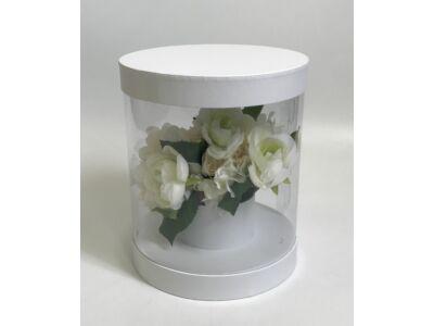Átlátszó oldalú premium virágdoboz - fehér 36/#