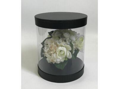 Átlátszó oldalú premium virágdoboz - fekete 36/#
