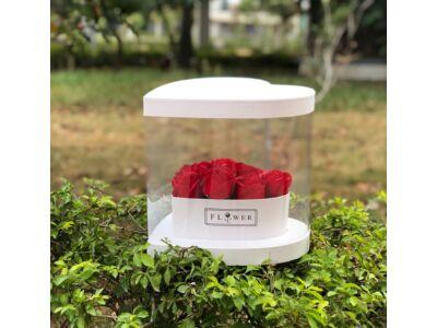 Átlátszó oldalú szív alakú premium virágdoboz - fehér 36/#