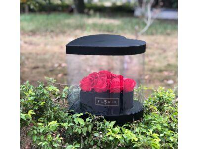 Átlátszó oldalú szív alakú premium virágdoboz - fekete 36/#