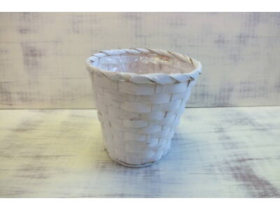 Bambusz kaspó fehér 16cm