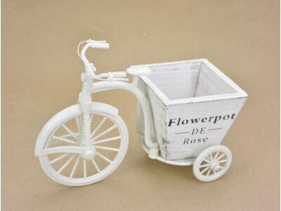 Műanyag velocipéd tricikli fa kaspóval fehér