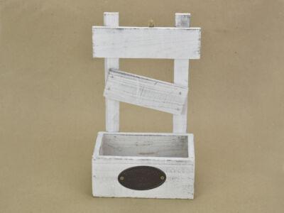Fali raklapos tároló fából fehér 80/#