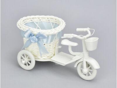 Műanyag tricikli kerek kosárral kicsi - kék