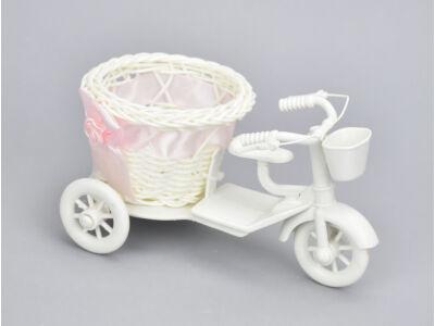 Műanyag tricikli kerek kosárral kicsi - rózsaszín