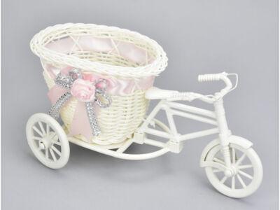 Műanyag tricikli kosárral nagy - rózsaszín