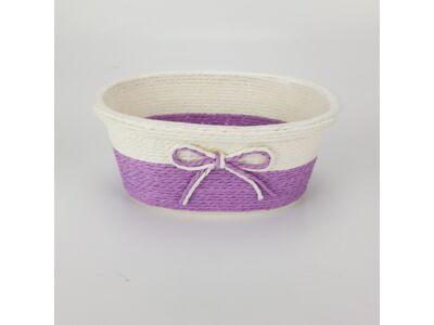 Köteles ovál kaspó masnival kicsi lila