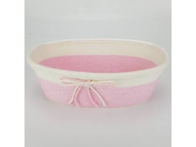 Köteles ovál kaspó masnival nagy rózsaszín