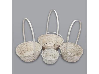 Bambusz füles kosár fehér 4db/szett