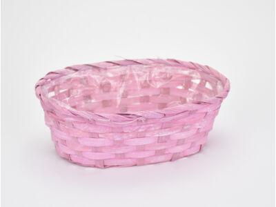 Bambusz ovál fonott tál rózsaszín  72/#