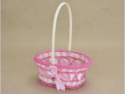 Mini kosár műanyag, ovál rózsaszín 280/#