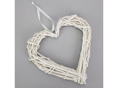 Vessző szív koszorú fehér 30cm