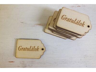 """Natúr fa - Scrapbook kisérő táblák """"Gratulálok"""" 10db/csomag"""