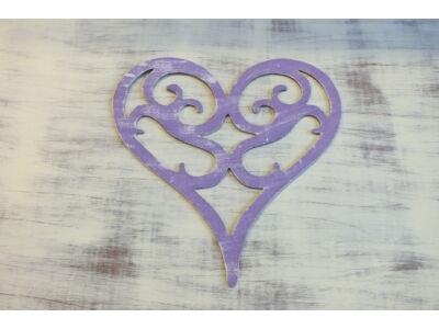 Fa vintage szív koptatott lila 30cm