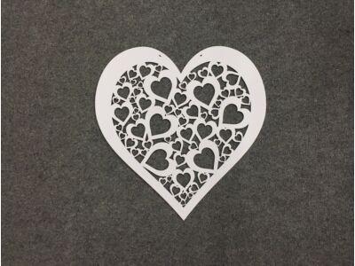 Fa áttört szív  fehér 40cm