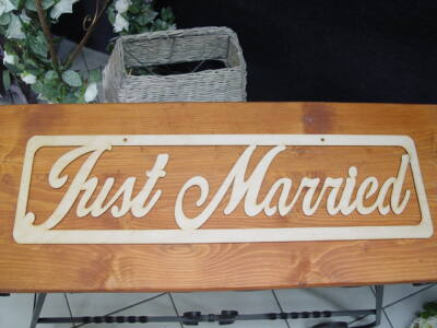 "Natúr fa - ""Just married"" felirat 70cm"