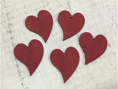 Francia szív meggypiros 4,5cm 5db/csomag