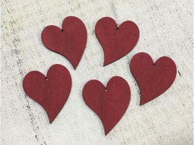 Fa francia szív meggypiros 4,5cm 5db/csomag