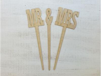 """Natúr fa - """"Mr & Mrs"""" beszúrós felirat 37cm"""