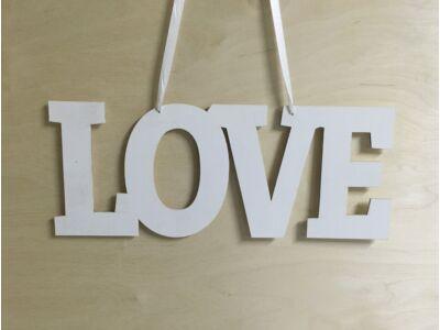 """Natúr fa """"Love"""" felirat lyukkal fehér"""