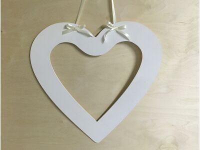 Natúr fa szív fotókeret fehér