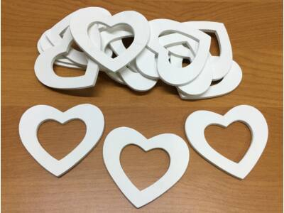Fa lukas szívek fehér 6cm 15db/csomag