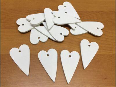 Fa szív hosszú fehér 6cm 15db/csomag