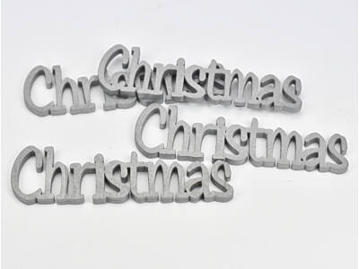Christmas felirat ezüst 15cm 4db/csomag