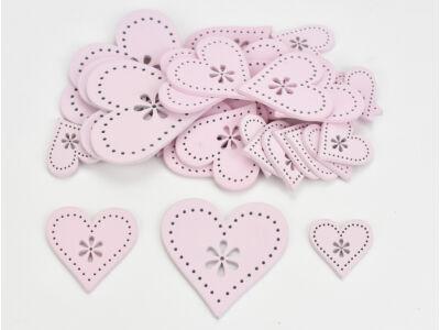 Fa virágdíszes szív rózsaszín 30db/csomag