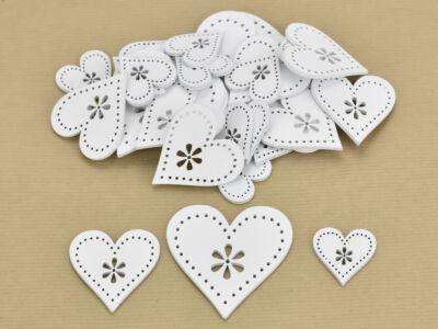 Fa virágdíszes szív fehér 30db/csomag