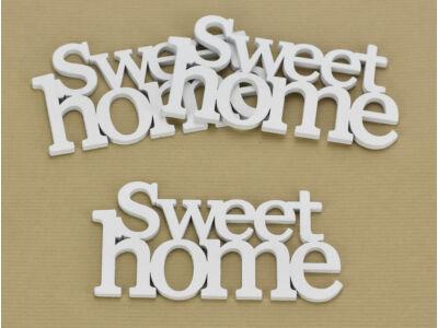 """Fa """"Sweet home"""" felirat koszorúra fehér 7x14cm 3db/csomag"""