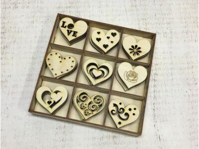 Natúr fa szíves doboz szett 45db szív/doboz