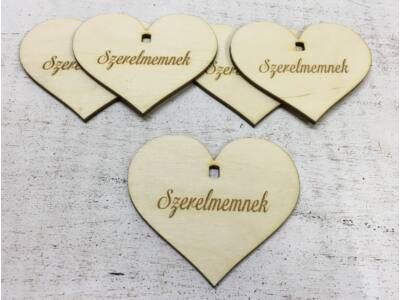 """Natúr fa szív """"Szerelmemnek"""" 7cm 5db/cs (szív állványhoz)"""
