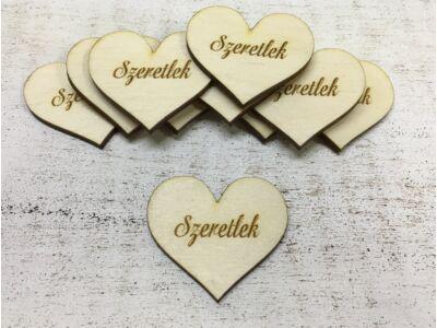 """Natúr fa szív """"Szeretlek"""" 10db/csomag"""