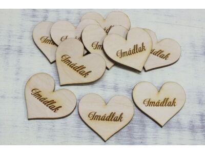 """Natúr fa szív """"Imádlak"""" 4cm 10db/cs"""