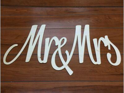 "Natúr fa - ""Mr & Mrs"" felirat 74cm"