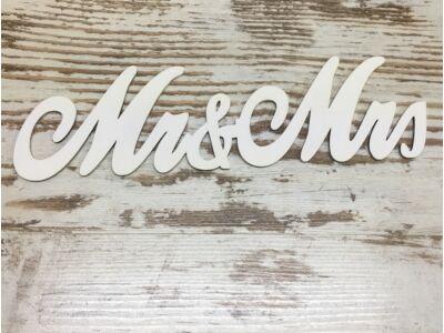 """Fa - """"Mr & Mrs"""" írott felirat  fehér 30cm"""