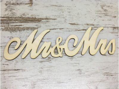 """Natúr fa - """"Mr & Mrs"""" írott felirat 30cm"""