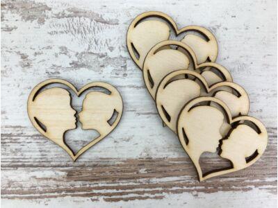 Natúr fa - Szerelem szív 5cm 5db/csomag